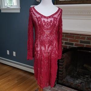 Burgundy Crotcheted Beach Dress